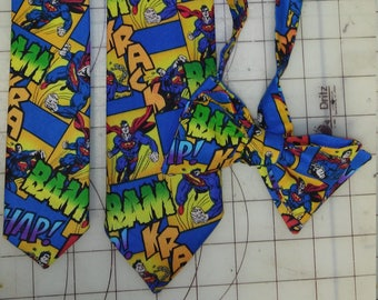 DC Comic Superman Neckties in bow tie, skinny tie, and standard tie styles, kids or adult sizes