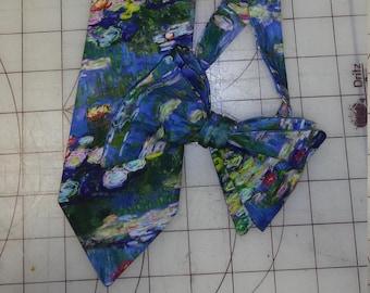 Handmade Monet Water Lillies Watercolor Neckties in bow tie, skinny tie, and standard tie styles, kids or adult sizes