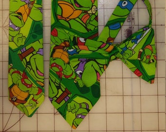 Teenage Mutant Ninja Turtles Neckties in bow tie, skinny tie, and standard tie styles, kids or adult sizes