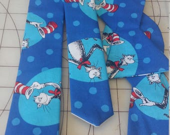 Dr. Seuss' The Cat in the Hat Teal Circle Neckties in bow tie, skinny tie, and standard tie styles, kids or adult sizes