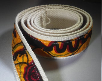 Ankara and Natural Canvas Belt with Adjustable D Ring Closure