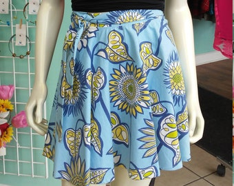 A-Line Canvas Wrap Skirt in Blue Floral