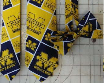 University of Michigan Neckties in bow tie, skinny tie, and standard tie styles, kids or adult sizes