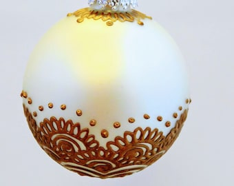 Large Hand Painted Satin Finish Christmas Bulb Ornament with Henna Design in Glass