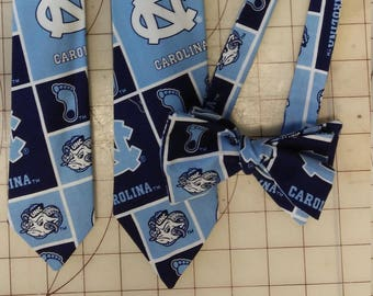 University of North Carolina Tar Heels Neckties in bow tie, skinny tie, and standard tie styles, kids or adult sizes