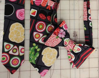 Bento Box Sushi Neckties in bow tie, skinny tie, and standard tie styles, kids or adult sizes