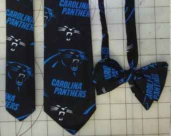 Carolina Panthers football Neckties in bow tie, skinny tie, and standard tie styles, kids or adult sizes