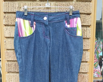 Tidal Cool Jeans with Multicolored Striped Accents and Blue Denim