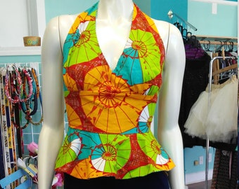 Flirty Ankara Halter Top with Peplum made from African Wax Block Cotton from Ghana