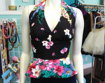 Flirty Halter Top with Peplum made from Vintage Floral Cotton