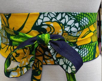 Reversible Obi Belt in African Wax Block Cotton