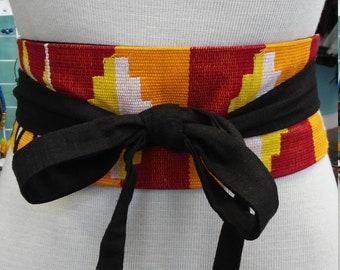 Reversible African Kente Cloth and Black Linen Obi Belt