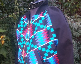 Wax Block African Kente Print Unisex Bomber Jacket