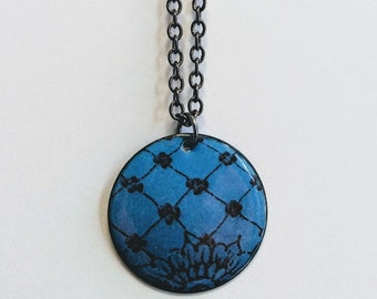 Enameled Henna Design Necklace