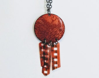 Enameled Henna Design Necklace w/ Recycled Film Negative