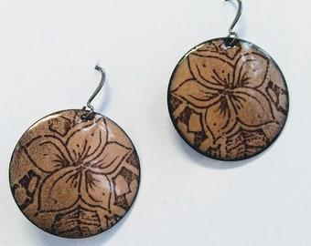 Enameled Henna Design Earrings