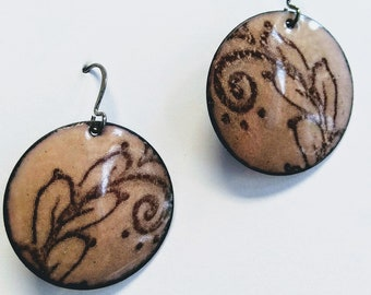 Enameled Henna Design Earrings