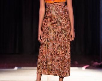 Long Wrap Skirt in Column Silhouette, in Orange and Black Print