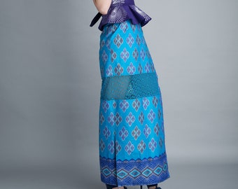 Long Wrap Skirt in Column Silhouette, in Blue Wax Block African Cotton