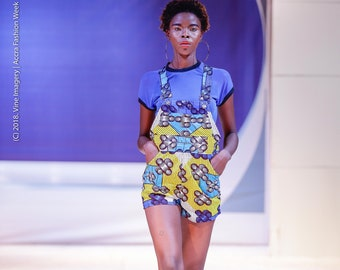 Short Ankara Overalls Made From African Wax Block Cotton