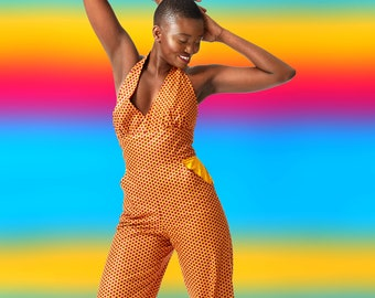 Fitted Halter Jumpsuit, in African Wax Block Cotton