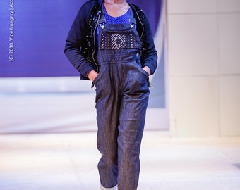 Long Black Denim Overalls with African Mudcloth Pocket