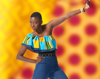 Denim Jumpsuit with Asymmetrical Flounce made from Handwoven Kente