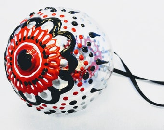 Medium Hand Painted Clear Finish Christmas Bulb Ornament with Henna Design in Shatterproof Acrylic