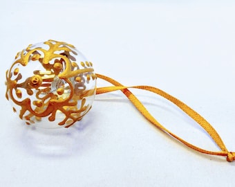 Small Hand Painted Clear Finish Christmas Bulb Ornament with Henna Design in Glass