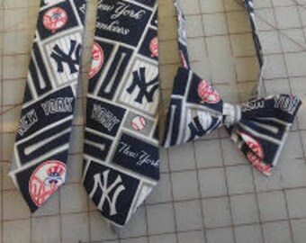 MLB New York Yankees Patchwork Neckties in bow tie, skinny tie, and standard tie styles, kids or adult sizes