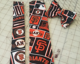 MLB San Francisco Giants Neckties in bow tie, and standard tie styles, kids or adult sizes