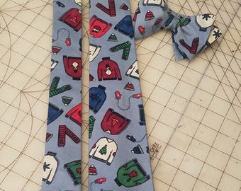Ugly Christmas Sweater Neckties in bow tie, skinny tie, and standard tie styles, kids or adult sizes