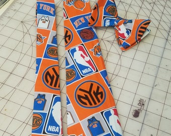 NBA New York Knicks Neckties in bow tie, skinny tie, and standard tie styles, kids or adult sizes