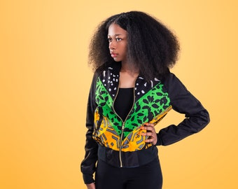 Wax Block African Print Bomber Jacket