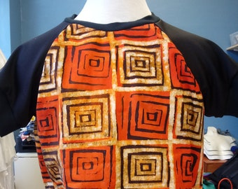 Batik Unisex Pullover Shirt in Orange and Black Hand Dyed African Cotton