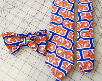 Cleveland Cavaliers Necktie in Old School Orange/Blue Neckties in bow tie, skinny tie, and standard tie styles, kids or adult sizes