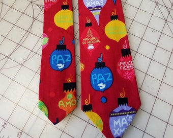 Espanol Christmas Neckties in bow tie, skinny tie, and standard tie styles, kids or adult sizes