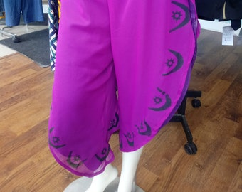African Stamped Neon Purple and Black Chiffon Wrap Pants