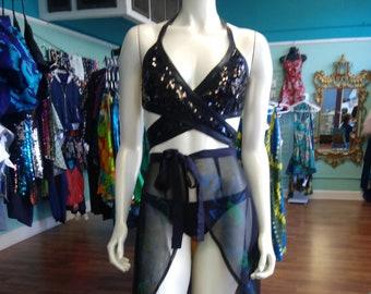 Sequin and Liquid Black Wrap Bikini