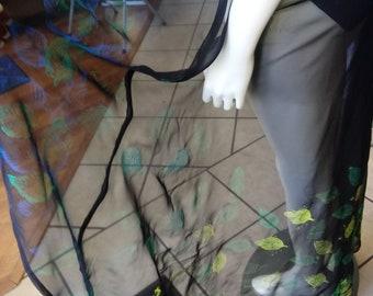 Sheer Black Chiffon Wrap with Handstamped Leaf Pattern