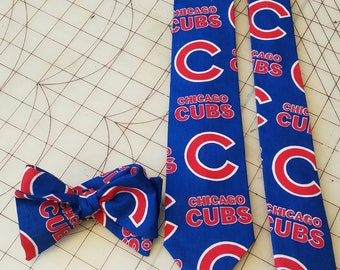 MLB Chicago Cubs Neckties in bow tie, skinny tie, and standard tie styles, kids or adult sizes