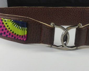 Vegan Leather and Ankara Belt with Metal Buckle Closure