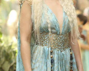 Khaleesi Daenerys Targaryen Cosplay Gown Season 2 Qarth Costume GOT Game of Thrones