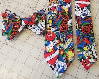 Ed Hardy Neckties in bow tie, skinny tie, and standard tie styles, kids or adult sizes