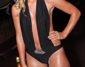 Sexy Plunge One Piece Swimsuit in Black Glittery Spandex