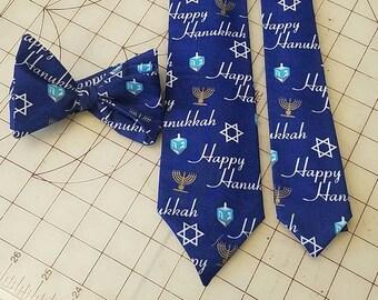 Happy Hanukkah Neckties in bow tie, skinny tie, and standard tie styles, kids or adult sizes