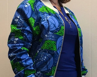 African Wax Block Cotton Reversible Unisex Bomber Jacket made from GTP Ankara from Ghana and Chambray
