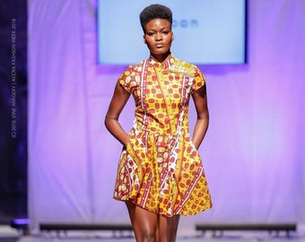 Ankara Dress with Mandarin Neckline Made from African Wax Block Cotton