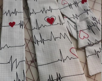 Heartbeat EKG Neckties in bow tie and standard tie styles, kids or adult sizes