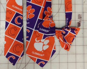 Clemson University Fighting Tigers Neckties in bow tie, skinny tie, and standard tie styles, kids or adult sizes